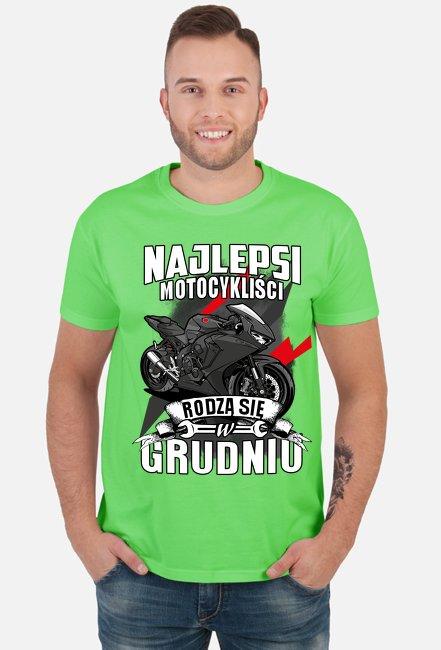 Najlepsi motocykliści rodzą się w GRUDNIU - męska koszulka motocyklowa