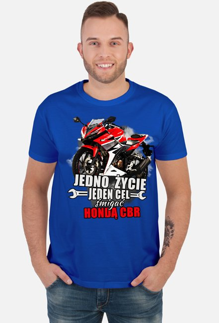 Jedno życie, jeden cel śmigać hondą cbr - męska koszulka motocyklowa