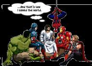Jezus i bohaterowie bluza z kapturem męska
