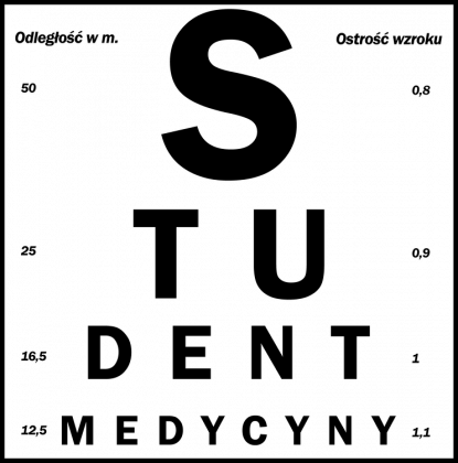 Tablica snellena czarny napis - student medycyny