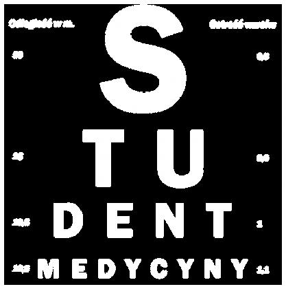 Tablica snellena biały napis - student medycyny