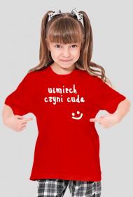 """Koszulka na lato """"uśmiech czyni cuda"""" dla dziewczynki"""