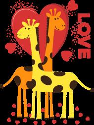 Zakochane Żyrafy - Czarna koszulka damska na ramiączkach