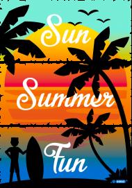 Sun Summer Fun - Damska koszulka czarna na ramiączkach