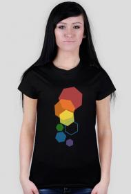 T-shirt damski w kolorowe heksagony