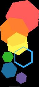 Poszewka w kolorowe heksagony