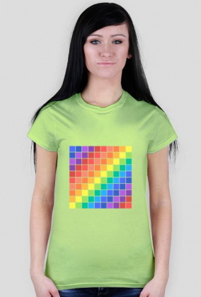 T-shirt damski w kolorowe kwadraty