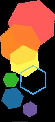 T-shirt męski w kolorowe heksagony