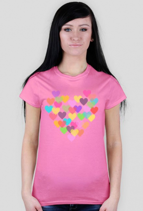 T-shirt damski w kolorowe serduszka