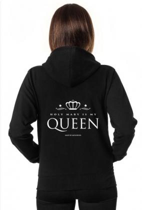 3f5eb7b4acce8 Czarna bluza damska z kapturem, rozpinana Queen - bluzy rozpinane w ...