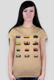 Pixel art – samochody z pikseli, koszulka (różne kolory)