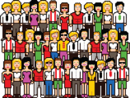 Pixel art – tłum pikselowanych ludzi (różne kolory)