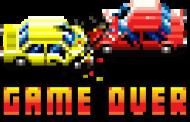 Pixel art – zderzenie aut, koniec gry