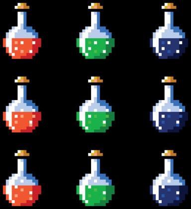 Pixel art – magiczne fiolki, t-shirt