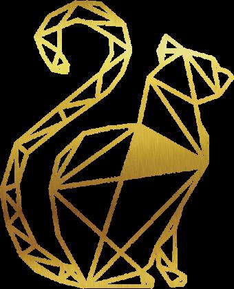 """Poszewka na poduszkę """"Jasia"""" Dekoracyjna Geometryczny Złoty Kot"""