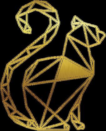 Klasyczny Kubek Złoty Geometryczny Kot Kubki W Laland