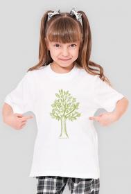 Drzewko koszulka dla dziewczynki, dziewczęca koszulka z drzewem