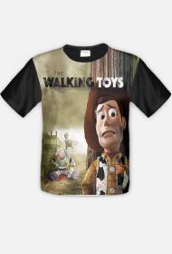 Walking Toys Koszulka Męska Full Print Czarne Rękawy