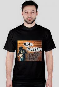 Jestę Muzykię - koszulka muzyczna męska jednostronna ciemne kolory