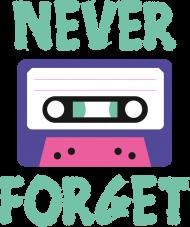 Damski T-shirt z napisem Never Forget, czyli sentymentalna podróż do czasów kaset magnetofonowych