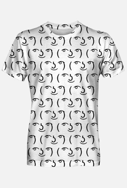 Biała koszulka męska fullprint, idealna na prezent dla informatyka, programisty, geeka, nerda, pod choinkę, na urodziny, na mikołajki - Lenny Face