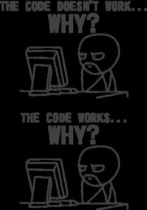 Poduszka dobry pomysł na tani prezent dla programisty, informatyka, pod choinkę, na urodziny, na mikołajki - The code doesn't work... Why?, The code works... Why?