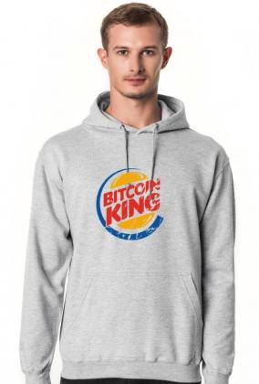 Bluza męska z kapturem idealna na tani prezent dla informatyka, programisty, geeka, nerda, pod choinkę, na mikołajki, na urodziny - Bitcoin King