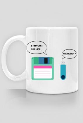 Kubek dobry pomysł na tani i praktyczny prezent dla informatyka, programisty - Floppy Disk (Dyskietka), Pendrive: I am your Father... Nooooo!