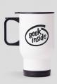 Kubek termiczny dobry pomysł na tani i śmieszny prezent dla programisty, nerda, geeka, na urodziny, na mikołajki, pod choinkę - Geek Inside parodia Intel Inside