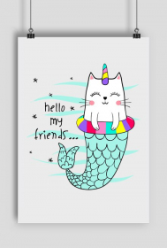 PLAKAT CAT HELLO MY FRIENDS