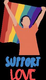 Bluza damska z kapturem Support Love Flag