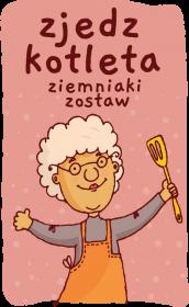 Fartuch kuchenny - Zjedz Kotleta (Prezent na Dzień Babci)