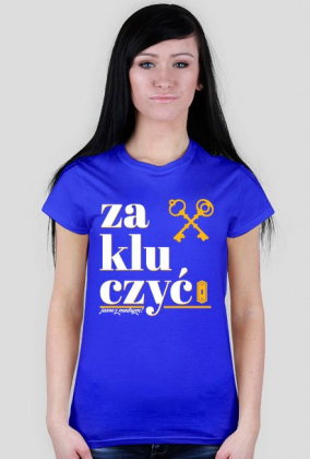 Zakluczyć - koszulka damska - Jasne z modrym