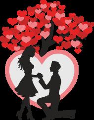 Podusia z wyznaniem miłosnym i parą pod drzewem