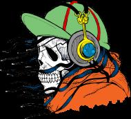 Koszulki z czaszkami - czaszka słuchająca muzyki - męska