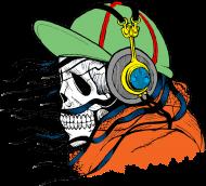 Koszulki z czaszkami - czaszka słuchająca muzyki - damska