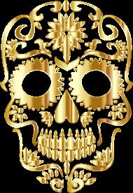 Koszulka czaszka - Złota czaszka - damska