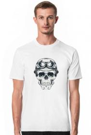T-shirt czaszka motocyklisty - męska