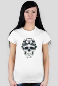 T-shirt czaszka motocyklisty - damska