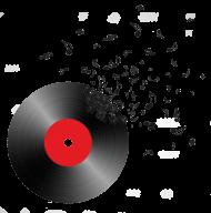Muzyczne koszulki - Płyta i nuty - damska