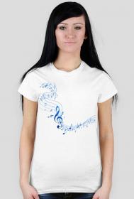 Muzyczne ubrania - Koszulka z nutami - damska