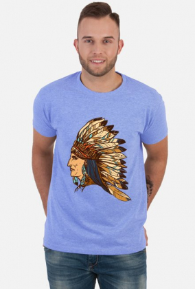 Koszulka z indianinem w pióropuszu - męska