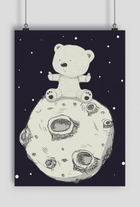 Plakaty dla dzieci na ścianę - Miś na Księżycu - rozmiar A1