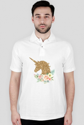 Koszulka męska polo - Złoty jednorożec