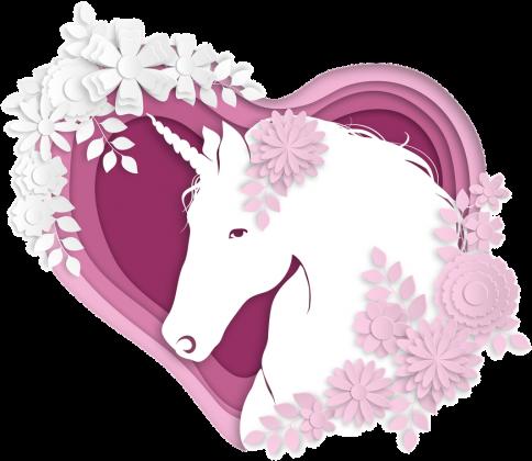 Modne podkoszulki damskie - Jednorożec w sercu