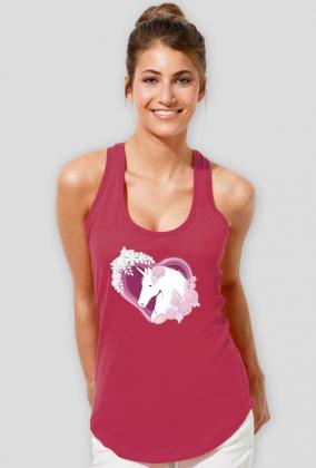 Koszulka damska bokserka - Jednorożec w sercu