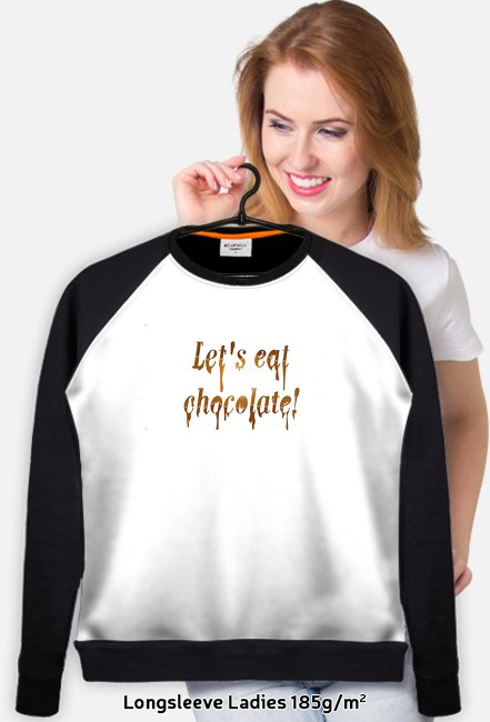 Lekka bluza z czarnymi rękawami Let's eat chocolate!