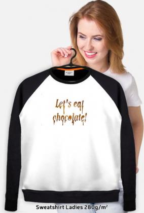 Bluza full print z czarnymi rękawami Let's eat chocolate!