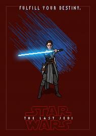 STAR WARS Rey Pixel Art - plakat A2