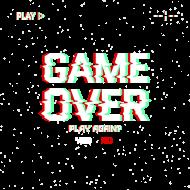 Pixel Art - Game Over Play again Yes/No - styl retro - glitch - 8 bit - grafika inspirowana grą Minecraft - męska koszulka bez rękawów